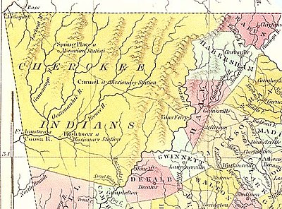 Cherokee lands in 1830