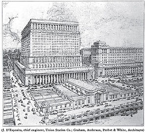 English: Plan for Chicago's new Union Station,...