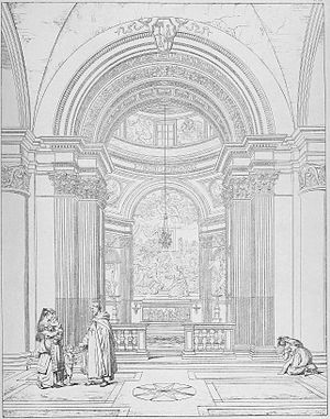 Jonah (Lorenzetto) - The chapel in the Romantic era, etching by Paul Letarouilly.