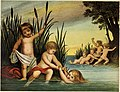 Children playing in the water and alarmed by one of the Mermaids approaching the shore.jpg