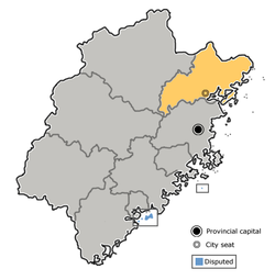 Location of Ningde City in Fujian