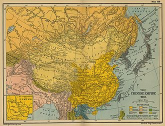 Xinjiang under Qing rule - The Qing Empire in 1910 with provinces in deep yellow, military governorates and protectorates in light yellow.