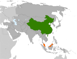 Map indicating locations of China and Malaysia
