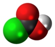 Space-filling model of the chloroformic acid molecule