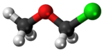 Ball-and-stick model of the chloromethyl methyl ether molecule