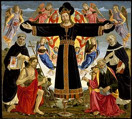 Christ on the Cross with Saints Vincent Ferrer, John the Baptist, Mark and Antoninus