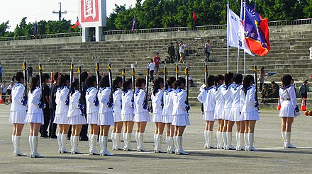 Taiwanese school girls in 2011 Chutung Senior High School Guards Standing on Hukou Camp Ground before Performance 20111105 (cropped).JPG