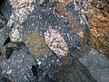 Clast-rich impact pseudotachylite (Sudbury Breccia, Paleoproterozoic, 1.85 Ga; Windy Lake Northwest roadcut, Sudbury Impact Structure, Ontario, Canada) 60 (33881166958).jpg