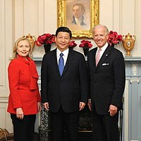 Chinese President Xi Jinping with U S  Secretary of State Hillary Clinton and Vice President Joe Biden     February