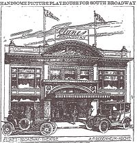 Clune's Broadway Theater, as shown in the Los Angeles Times, July 17, 1910