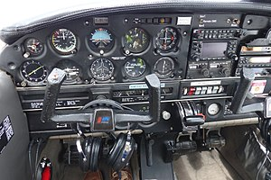 Airspeed indicator - The airspeed indicator of this Piper PA-28 Cherokee Warrior is seen on the top row of instruments, second from left