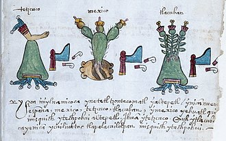 Aztec codices - Section of page 34 (folio 496) of Codex Osuna showing the glyphs for Texcoco, Tenochtitlan, and Tlacopán.
