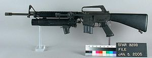 XM148 grenade launcher - The XM148 mounted to an early Colt AR-15 rifle.
