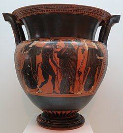 Column krater by the Rycroft Painter and shop, c. 525-510 BCE, Lowe Art Museum.JPG