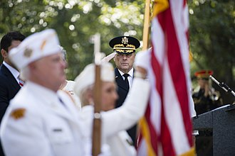 Service flag - Mark A. Milley, Chief of Staff of the Army, salutes during the 80th commemoration of Gold Star Mother's and Family's Day at Arlington National Cemetery in 2016