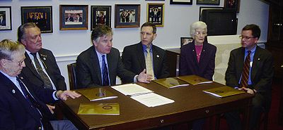 In 2005, member of Congress Marty Meehan (third from left) unsuccessfully attempted to repeal the policy