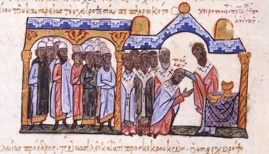 Konsekrasjonen av Polyeuktos i 956, fra «Historien om Johannes Skylitzesthe» (Skyllitzes Matritensis) av en ukjent forfatter på 1200-tallet, Biblioteca Nacional de España i Madrid