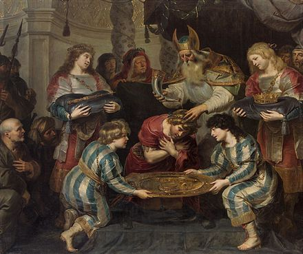 The Anointing of Solomon by Cornelis de Vos (c. 1630). According to 1 Kings 1:39, Solomon was anointed by Zadok. Cornelis de Vos - The Anointing of Solomon.jpg
