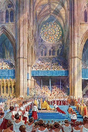 Coronation of the British monarch - George VI receiving the homage after being crowned at his coronation in 1937