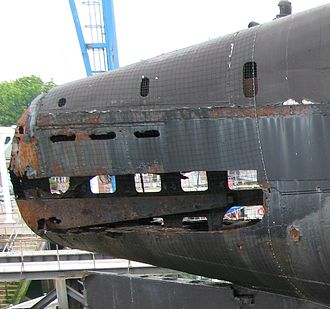 HMS Alliance (P417) - Damage to the stern of Alliance in 2008