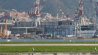 Costa Pacifica - Costa Pacifica under construction at the Fincantieri shipyards in Sestri Ponente on March 29, 2008.