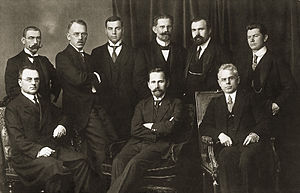 Augustinas Voldemaras - The Council of Lithuania in 1918. Augustinas Voldemaras  is standing on the far right