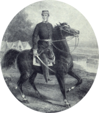 Lithograph depicting a man wearing a military kepi and frock coat with sword in hand and mounted on a black horse