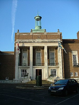 County Hall, Hertford - The entrance to County Hall.