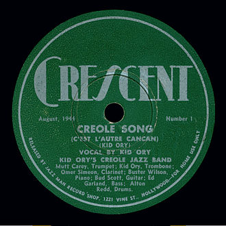 Kid Ory - Nesuhi Ertegun founded his first label, Crescent Records, to record Kid Ory's Creole Jazz Band. (Crescent Number 1, August 1944)