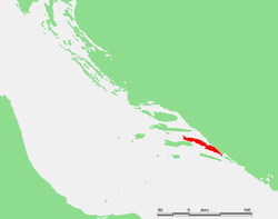 Location of Pelješac - Sabbioncello within Croatia.