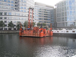 Canary Wharf railway station - Image: Crossrail works at West India Quay July 2007 GJ4