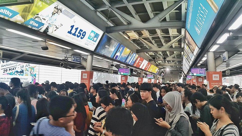 Crowded BTS skytrain Bangkok