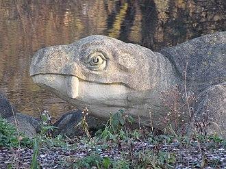 Sauropsida - Benjamin Waterhouse Hawkins' 1855 reconstruction of a Dicynodon as a turtle-like creature.