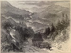 Cumberland Gap - Union soldiers passing through Cumberland Gap, 1863
