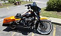 Custom Harley-Davidson motorcycle McDonald's restaurant Railroad Street downtown St. Johnsbury VT July 2016.jpg