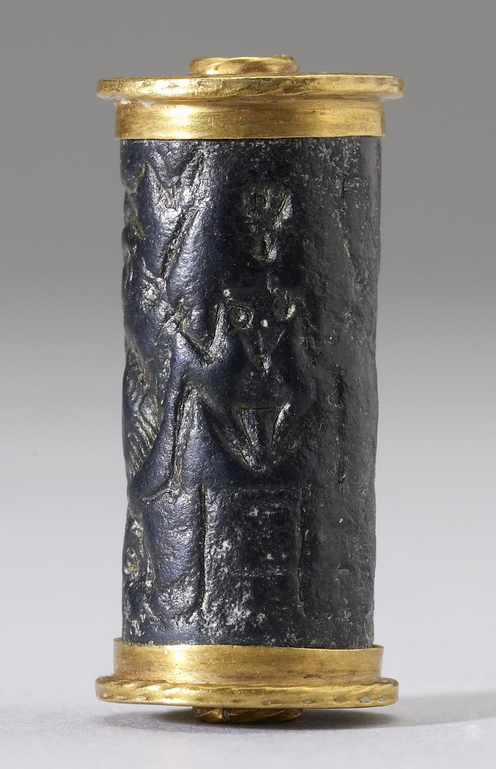 Cypriote - Cylinder Seal with a Nude Goddess - Walters 42415 - Side A