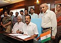 D.V. Sadananda Gowda giving finishing touches to the Railway Budget 2014-15, in New Delhi. The Minister of State for Railways, Shri Manoj Sinha, the Chairman, Railway Board (1).jpg