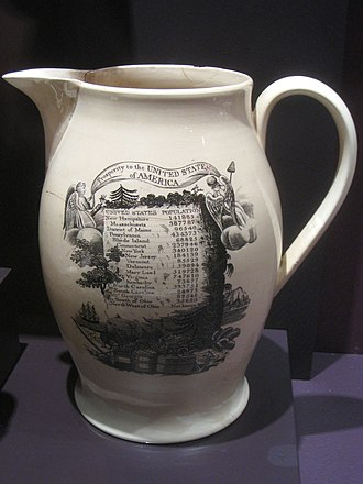 Demographic history of the United States - English transfer-printed Staffordshire pottery jug with US population by state, c. 1790.