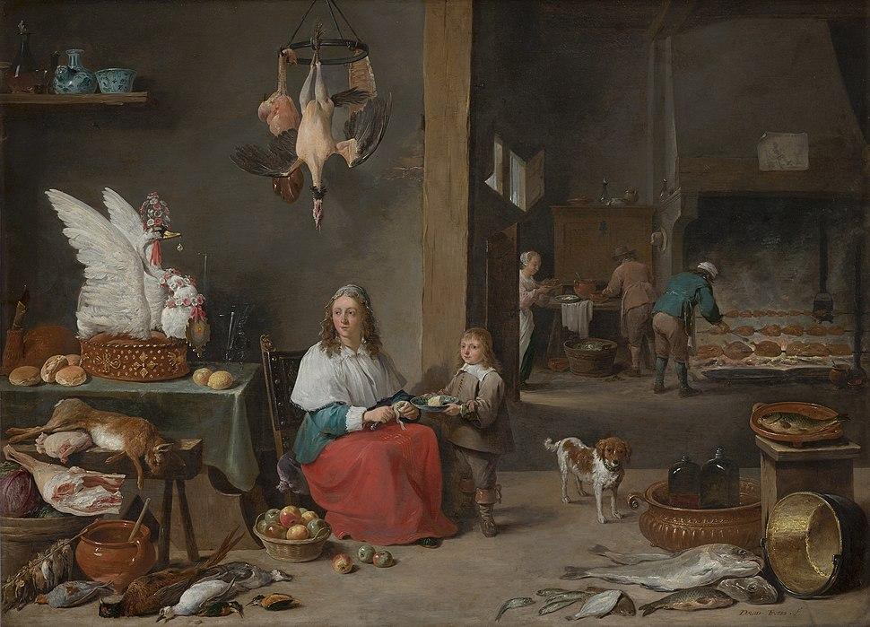 David Teniers the Younger-Kitchen Scene