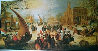 Winter Landscape with Ice-sailors and Ice skating