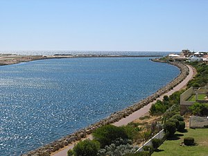 Wannanup - The Dawesville Channel forms the southern boundary of Wannanup, which lies to the right of the channel in this image