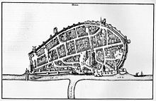 copper plate map of the city of Neuss