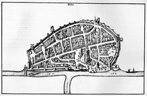 Destruction of Neuss - Engraved map of the city of Neuss