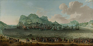 The defeat of the Spanish at Gibraltar by a Dutch fleet under command of Admiral Jacob van Heemskerck, 25 April 1607