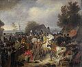 De vervanging van het gewonde paard van de prins van Oranje, de latere koning Willem II, tijdens het gevecht bij Boutersem, 12 augustus 1831 Rijksmuseum SK-A-2823.jpeg