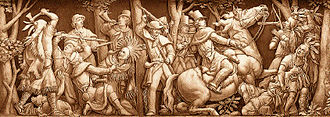 Richard Mentor Johnson - Johnson (center right) killing Tecumseh, from the frieze of the rotunda of the U.S. Capitol