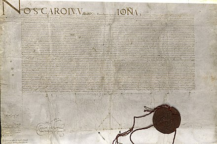 Deed of Donation of the islands of Malta, Gozo and Tripoli to the Order of St John by Emperor Charles V in 1530. Deed of Donation, 1530.jpg