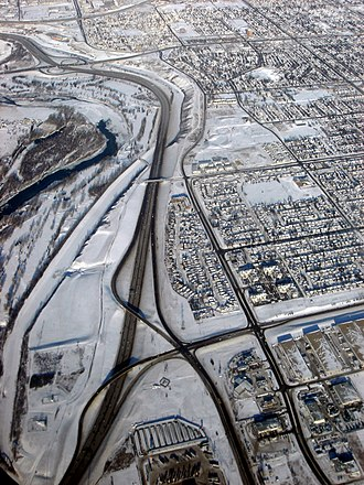 Transportation in Calgary - Deerfoot Peigan Trail interchange.