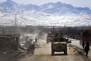 178th Infantry Regiment (United States) - 1-178 driving an armored convoy in Gardez City, the capital of Paktia Province. 17 February 2009.