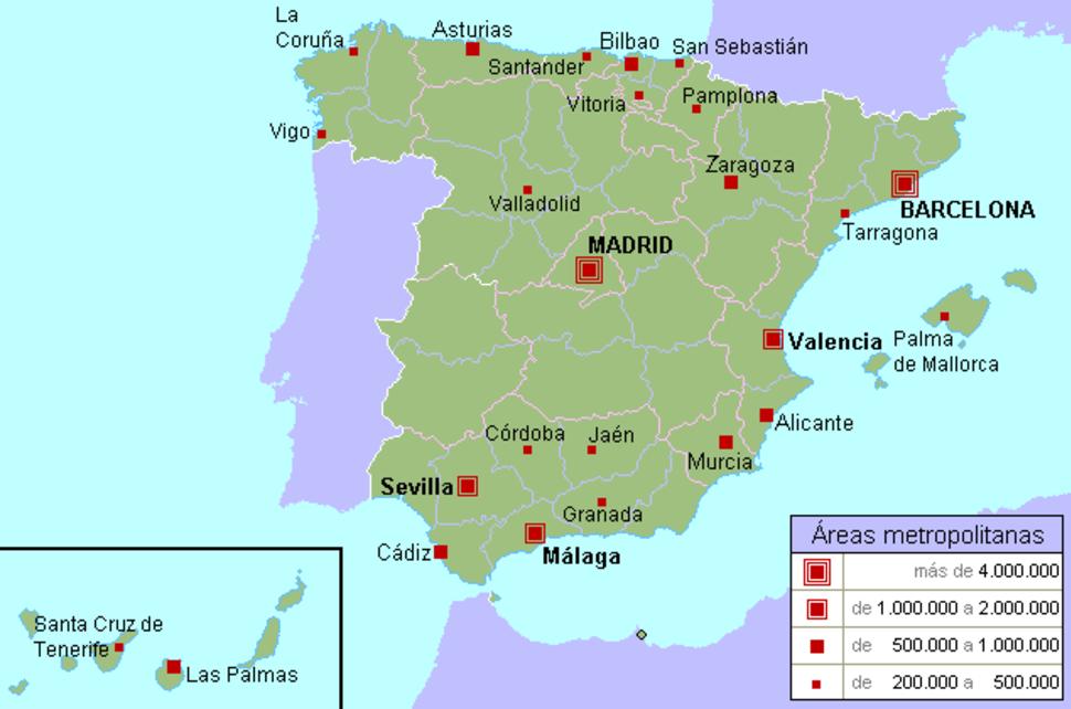 Demografía urbana de España